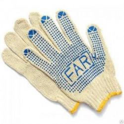 Перчатки №2 FAR 550гр (№2-550 вяз. белые с син. точкой) (600/12)